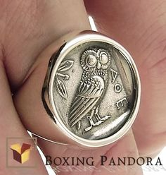 greek owl of widom silver coin ring #1130