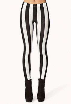 Mod Striped Leggings | FOREVER21 - 2062663705 - beetlejuice