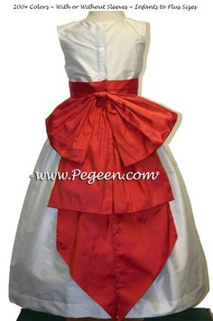1696d22a44f ... Orange Fire and Ivory Silk flower girl dress with Cinderella Bow by  Pegeen.co ...