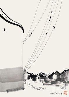 Wu Guanzhong(吴 冠中 Chinese, 1919-2010) 高空谱曲 2003 More