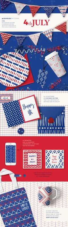 4th of July Patterns - A vast collection of 20 geometric and 20 hand drawn patterns inspired by the upcomin...