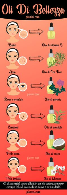 Oli Di Bellezza Per La Pelle Del Viso: Rughe; Acne E Brufoli; Borse E Occhiaie; Beauty Oils For Face Skin: Wrinkles; Acne And Pimples; Bags And Dark Circles; Beauty Care, Diy Beauty, Beauty Skin, Beauty Hacks, Face Beauty, Face Care, Body Care, Natural Beauty Recipes, Acne And Pimples