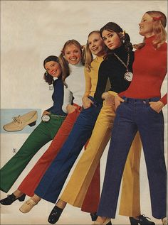 1971. Yep ! mine was gold crushed velvet hip huggers worn with a navy turtleneck. A favorite.
