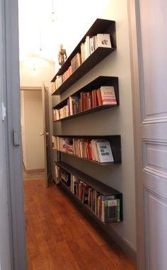rangement dans un couloir avec clairage couloir pinterest couloir rangement et idee deco. Black Bedroom Furniture Sets. Home Design Ideas