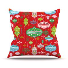 "Miranda Mol ""Ornate Red"" Ornaments Throw Pillow from KESS InHouse"