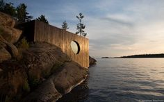 PARTISANS have designed Grotto, a sauna located on San Souci Island, in the Georgian Bay area of Ontario, Canada. Description from interiordesign2014.com. I searched for this on bing.com/images