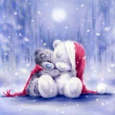 Me to You Christmas Card - Tatty Teddy Bear Hugging a Snow Bear Tatty Teddy, Teddy Bear Hug, Cute Teddy Bears, Christmas Pictures, Christmas Art, Vintage Christmas, Xmas, Urso Bear, Watercolor Card