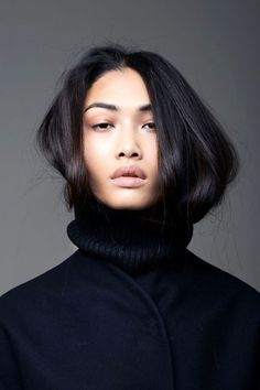 Photo via: JMB Currently crushing on model Yulia Saparniiazova. Talk about the perfect turtleneck hair-tuck! Get the look: + Ouai Texturizing Hair Spray + The Fitfth Label Fast Forward Knit + Enza Cos