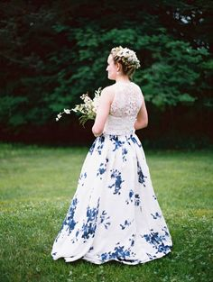 Blue and White Wedding Ideas - european-outdoor-garden-wedding-blue-dress-inspiration40