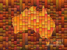 Australia Map Glasa Orange by elevencorners. Australia map art wall decor print. #elevencorners #mapglasa #australia