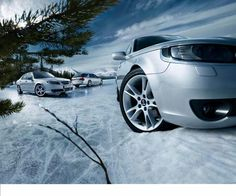 Saab 9-5 in the Snow