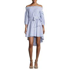 Caroline Constas Lou Off-The-Shoulder Striped Dress ($495) ❤ liked on Polyvore featuring dresses, blue stripe, off-the-shoulder dresses, 3/4 sleeve dress, hi low dress, blue off the shoulder dress and three quarter sleeve dress