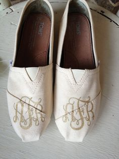 Hand Painted Vine Monogrammed Custom TOMS by brushandbow on Etsy, $85.00