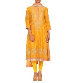 #Mustard Embroidered #Chanderi #Silk #Suit by #Ritu #Kumar at #Indianroots
