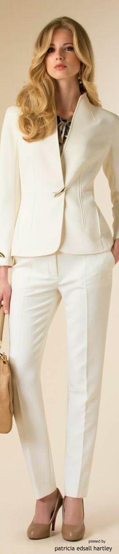 Louisa Spagnoli - FW 2015 white.  women fashion outfit clothing stylish apparel…