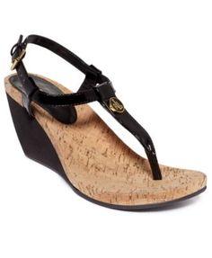 Lauren Ralph Lauren Reeta T-Strap Thong Wedge Sandals $24.43 Fun colors and designs brighten up your style in Lauren Ralph Lauren's Reeta wedge sandals.