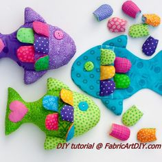 The tutorial and pattern have directions to use poly-pellets and buttons. To change it to a soft toy for a small child or baby, just replace the buttons with appliqued felt circles and fill the entire toy with polyester fiberfill. If you want to make them, please do – but please limit them to personal use only (no sales). Finished size is approximately 7 inches x 6 inchesSupplies you will need: 1 fat quarter main fabric (head, fins, back) 10 2-inch square cotton scraps in coordinati...