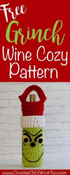 Loving this Crochet Grinch Wine Cozy