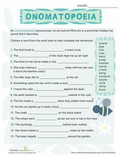 Worksheets: What is Onomatopoeia?