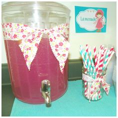 The punch is 4 cans of frozen Pink Lemonade, with four cans of water and 2 (2 liter) bottles of Sprite. I also, sliced up a lemon and threw them in there. It was delicious. I couldn't stop drinking it. I got the cute straws from Dime Store Buddy on Etsy.