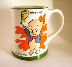 A personal favorite from my Etsy shop https://www.etsy.com/ca/listing/250622511/porky-pig-warner-bros-coffee-mug-vintage