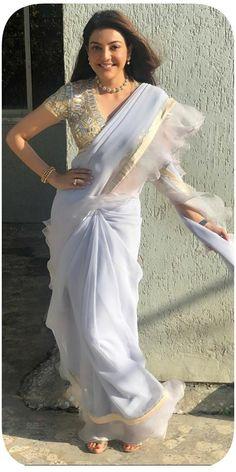 Kajal Aggarwal in Grey Saree Tamil Actress Photos, Indian Film Actress, South Indian Actress, Beautiful Indian Actress, Beautiful Actresses, Indian Actresses, Beautiful Saree, Bollywood Cinema, Bollywood Photos