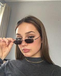eye makeup 00s 90s dark sleek hair look lookbook street style sunnies sunglasses