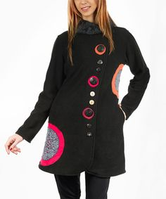 love this in other colors Black & Fuchsia Embroidered-Circle Polar Fleece Jacket on #zulily! #zulilyfinds