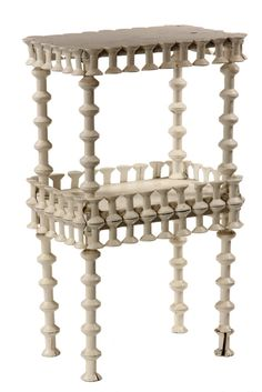 1910s Vintage Home Made Table constructed from wooden thread spools, in white paint