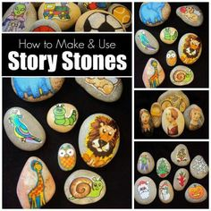Design the stones, put them in a basket, and the children take them out one by one. They then make up their story, as they go along, based on what picture is on the stone they pull.