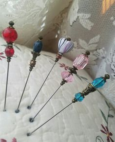5 Victorian Antique Inspired Hat or Scarf Pins. by CraftyVictorian