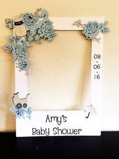 Polaroid picture frame for a baby shower! Has baby bottle, umbrella and baby carriage. So cute!