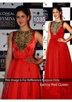 Bollywood Replica- Katrina Kaif Designer Red Gown - 1035