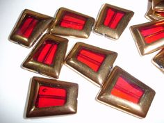 4 Red Gold Edged Trapezoid Glass Beads - $2 start bid at Tophatter.com Supplies with a Surprise LIVE auction, going on now! Come join the fun of real-time bidding on jewelry making and craft supplies.