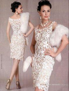 Hola.... lo sé, ando un poco fuera del mundo bloggeril, pero les quiero compartir este hermoso vestido en crochet irlandes que encontr...