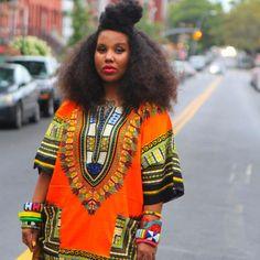 Traditional African Dashiki Shirt Orange - $16.70 & free shipping worldwide