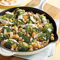Sautéed Chickpeas with Broccoli and Parmesan... I would like to try this with green beans.