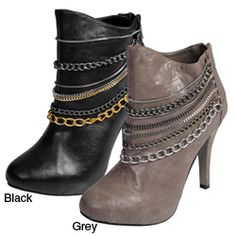 @Overstock - These chic booties pack a big surprise with sassy chain detailing encircling the front. A zipper on the heel gives easy entry to these stylish boots.http://www.overstock.com/Clothing-Shoes/Anne-Michelle-by-Journee-Womens-Chain-High-Heel-Boots/5113775/product.html?CID=214117 $53.99