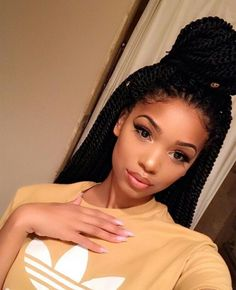 If you're looking for a protective hairstyle that isn't another box braided look, try one of these Senegalese twist styles for versatile, high-shine hair. Black Girl Braids, Girls Braids, Curly Hair Styles, Natural Hair Styles, My Hairstyle, Braided Hairstyles, Crochet Twist Hairstyles, Senegalese Twist Hairstyles, Senegalese Twist Styles