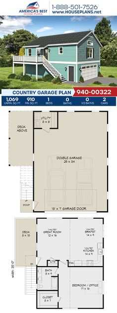 Check out this Country style garage! Plan 940-00322 delivers 1,069 sq. ft. of garage space, 910 sq. ft. of living space, 1 bedroom, vaulted ceilings, and a utility room. #countrygarage #garageplans #garage #architecture #houseplans #housedesign #homedesign #homedesigns #architecturalplans #newconstruction #floorplans #dreamhome #dreamhouseplans #abhouseplans #besthouseplans #newhome #newhouse #homesweethome #buildingahome #buildahome #residentialplans #residentialhome