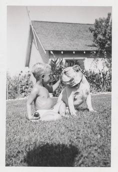 simple-insomnia:  Little boy and his bulldog