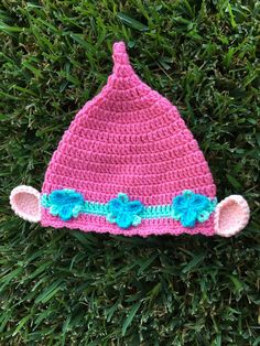 Poppy pink troll adorable hat by ProudChildCrochet on Etsy