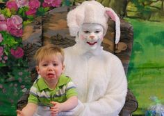I've never liked the easter bunny at the mall idea...this is why! I've never seen one that didn't look like a nightmare easter bunny!!