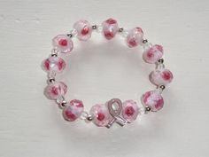 pink rose breast cancer awareness bracelet with pink ribbon charm