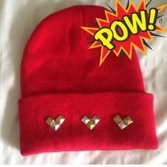 Red Studded Beanie Color: Red/Gold/Silver Size: One-Size Brand: Tan's Club Material: 100% acrylic  Brand new, never worn! Accessories Hats