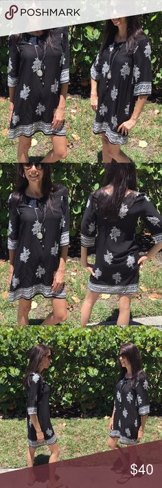 3/4 Sleeve Tunic Dress 3/4 Sleeve Tunic Dress This gorgeous Tunic dress is a definite must have in your closet.  Country: USA Fabric Content: 100% Rayon Dresses