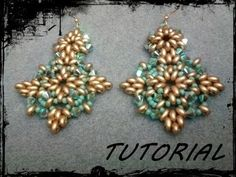 "Tutorial Perline: Orecchini ""Tiffany"" realizzati con superduo o twin beads - YouTube"