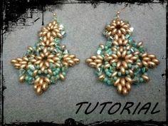 """▶ Tutorial Perline: Orecchini """"Tiffany"""" realizzati con superduo o twin beads - YouTube"""