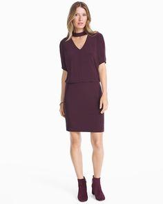 Women's Short-Sleeve Choker Neck Dress by WHBM