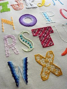 Hand Lettered Alphabet Sampler. Embroidery by thestoryofkat